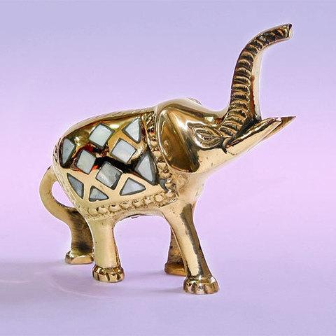 Слон  фигурка латунь с перламутром