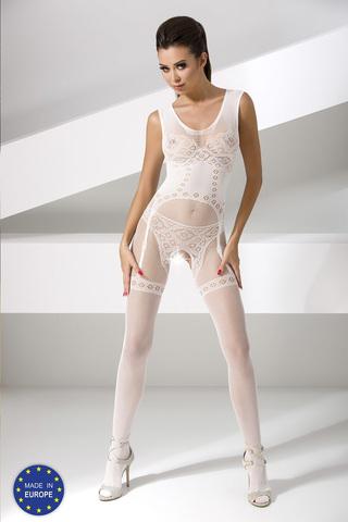 Белый боди-комбинезон сетка с интим вырезом