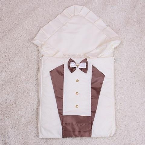 Демисезонный конверт одеяло на выписку Аристократ (шоколад)