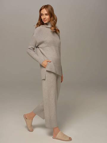 Женский свитер светло-серого цвета с высоким горлом из шерсти и кашемира - фото 6