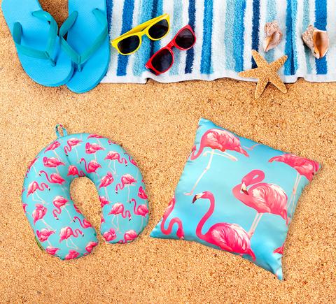Подушка-подголовник «Фламинго», голубая 4