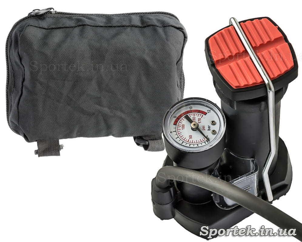 Универсальный компактный ножной насос с манометром (сумка для переноски)
