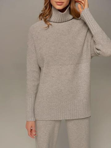 Женский свитер светло-серого цвета с высоким горлом из шерсти и кашемира - фото 4