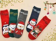 Носки детские новогодние  (5 пар) арт.D007-1 (разм  9-12 )