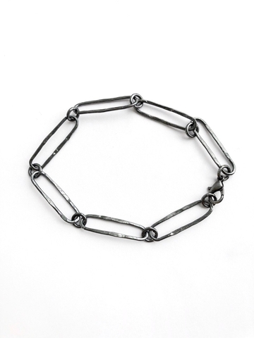 Серебряное браслет с крупными звеньями и черным родием