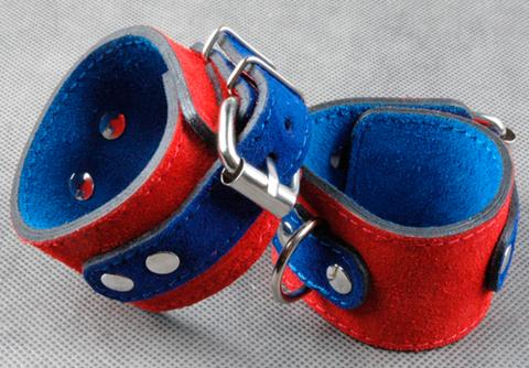 Велюровые наручники узкие прошитые