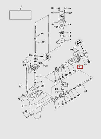 Стакан редуктора  для лодочного мотора T15, OTH 9,9 SEA-PRO (16-41)