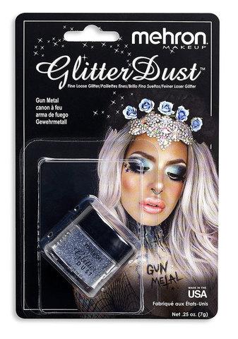 MEHRON Рассыпчатые блестки Glitter Dust, Gun Metal (Серый), 7 г