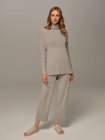 Женский свитер светло-серого цвета с высоким горлом из шерсти и кашемира - фото 5
