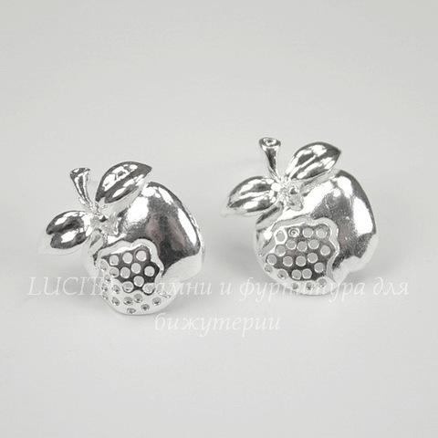 "Пуссеты - гвоздики ""Яблочки"" (цвет - серебро) 19х15 мм (без заглушек), пара"