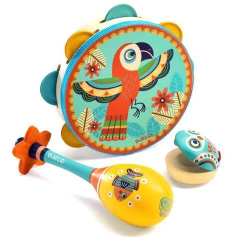 Набор музыкальных инструментов (маракас, кастаньет, бубен) Djeco