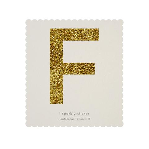 Стикер F, мерцающее золото