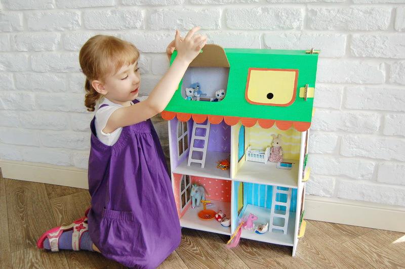 Картонный папа кукольный домик из картона