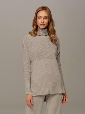 Женский свитер светло-серого цвета с высоким горлом из шерсти и кашемира - фото 1