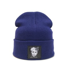 Вязаная шапка с вышивкой XXXTentacion (Онфрой) синяя