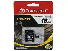 Карта памяти Micro SecureDigital 16 Gb Transcend Класс 10