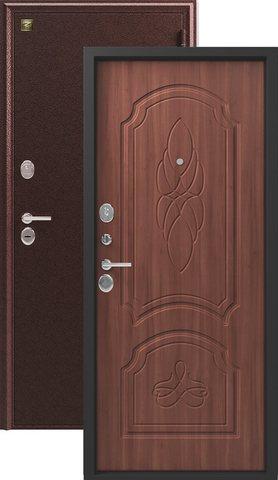 Сейф-дверь входная Зевс Z-6, 2 замка, 2 мм  металл, (медь+орех)