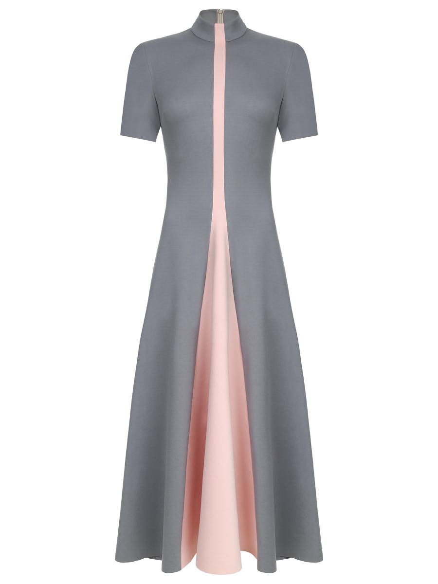 Платье серо-розовое со вставкой-клин (SS0468)