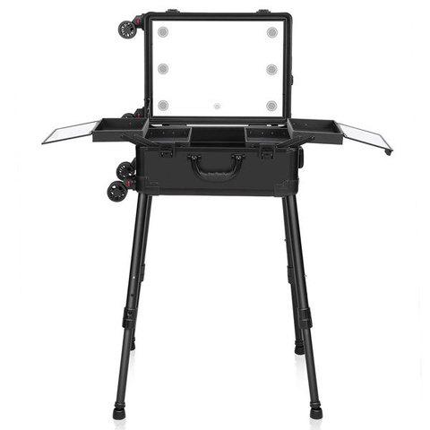 Бьюти кейс визажиста на колесиках (мобильная студия) LC031 Black