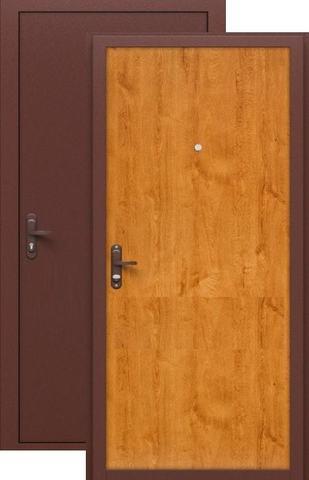 Дверь входная СтройГост Стройгост 5-1, 1 замок, 1 мм  металл, (медь+золотистый дуб)