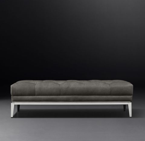 Italia Chesterfield Leather Coffee Ottoman