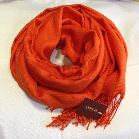 Палантин кашемир оранжевый 4
