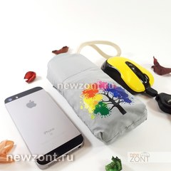 Серый мини зонтик с плоской ручкой NEX с ярким деревом