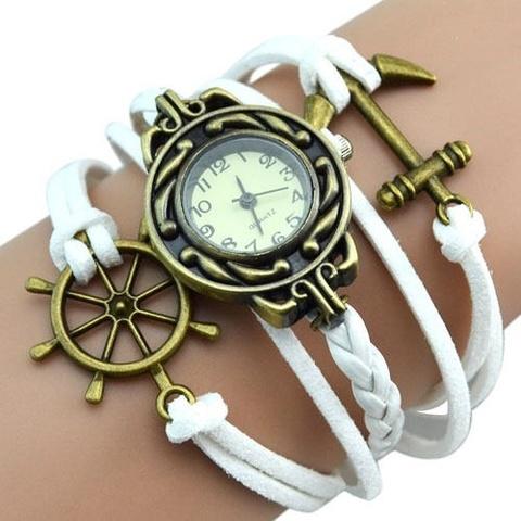 Часы-браслет с якорем и штурвалом (белые)