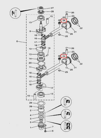 Игла подшипника (к-кт 25 шт)  для лодочного мотора T15, OTH 9,9 SEA-PRO (3-24)