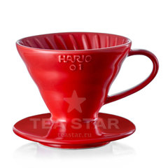 Воронка Hario 60, VDC-01r, керамическая для приготовления кофе, красная