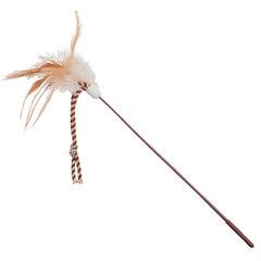 YUGI для кошек дразнилка с перьями и веревкой с колокольчиком
