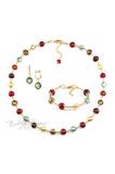 Комплект Carnavale Oro (зеленые серьги на серебре, ожерелье, браслет)