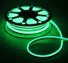 Гибкий неон 8х16 мм, светодиодный | Зеленый - 25м