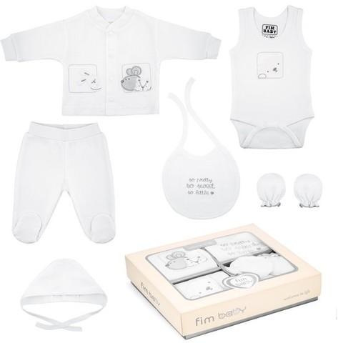 Набор одежды для детей FIMBABY 200077 от 0 до 6 мес. 7 предметов (р.68 белый цвет)