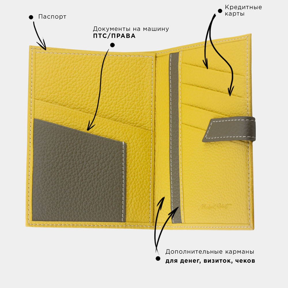 Обложка на паспорт и для автодокументов Cannes Bicolor из натуральной кожи теленка, желтого цвета