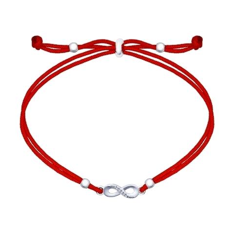 Красная нить с подвеской из серебра