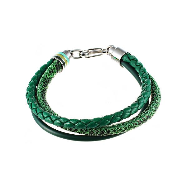 Кожаный браслет 3в1 зелёный JV SB7800