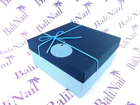 Коробка подарочная квадратная с бантом, 14х14х6см, синий/голубой/