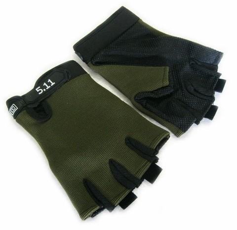 Облегченные перчатки 5.11 без пальцев (Олива / Черный)