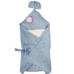 Папитто. Конверт-одеяло вязаный полушерстяной с подкладкой велсофт, голубой