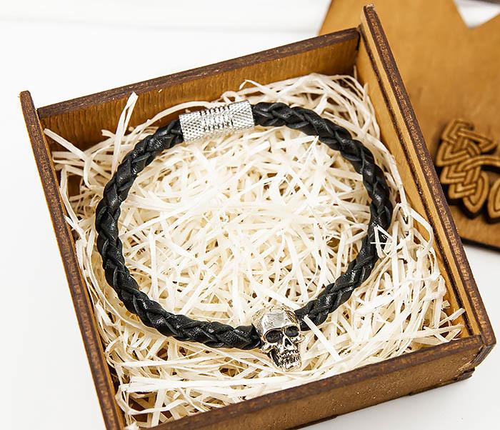 BL785-1 Браслет ручной работы из кожаного шнура с черепом фото 02