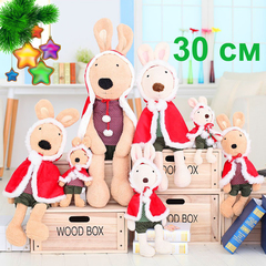 Rabbit Christmas red cloak plush toy - 30см