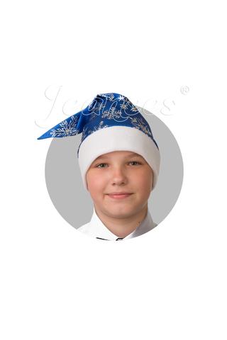 Колпак  Новогодний Синий со снежинками, сатин