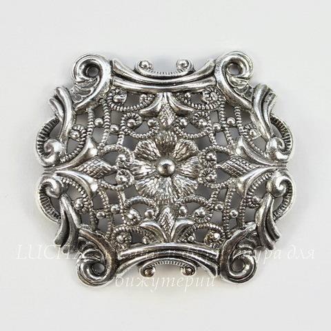 """Винтажный декоративный элемент - филигрань """"Европейский"""" 39х34 мм (оксид серебра)"""