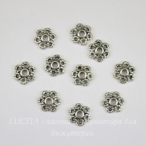 Шапочка для бусины (цвет - античное серебро) 11 мм, 10 штук