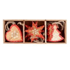 Украшения подвесные Stars/Trees/Hearts, деверевянные, в подарочной коробке, 12 шт. EnjoyMe