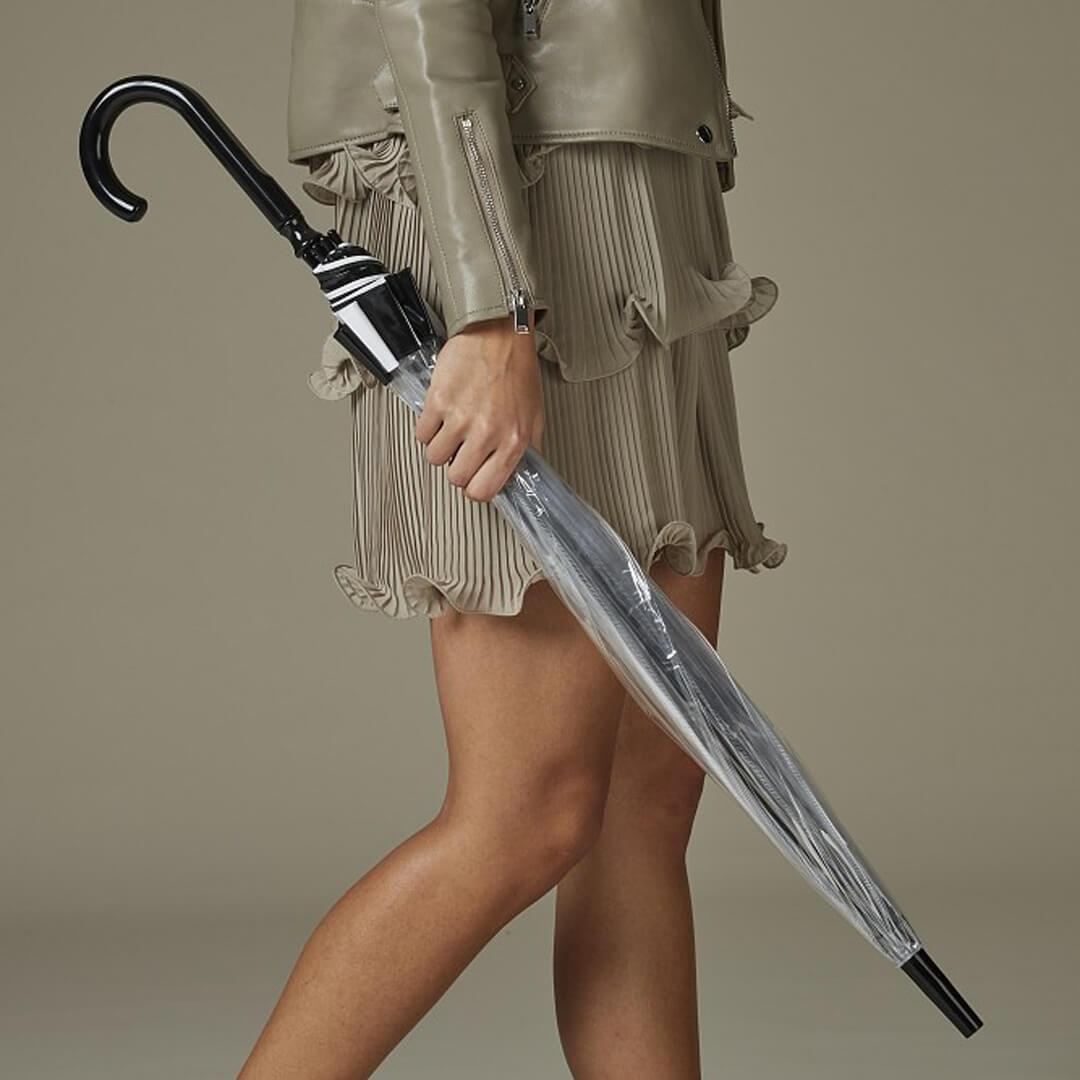 Женский прозрачный зонт-трость Fulton черно-белый кант