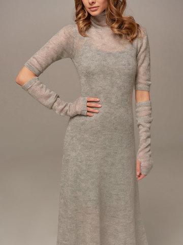 Женское светло-серое платье миди с длинным рукавом - фото 4