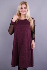 Тала. Стильное платье для женщин больших размеров. Бордо.