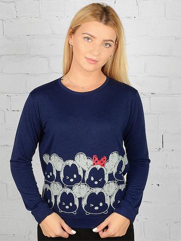 K032-43 футболка женская дл. рукав, темно-синяя